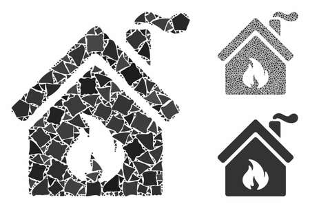 Kitchen fire mosaic of irregular parts in different sizes and shades, based on kitchen fire icon. Vector tremulant parts are organized into mosaic. Kitchen fire icons collage with dotted pattern.