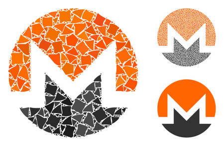 Monero currency mosaic of humpy parts in different sizes and color tones, based on Monero currency icon. Vector rough dots are united into collage. Monero currency icons collage with dotted pattern.