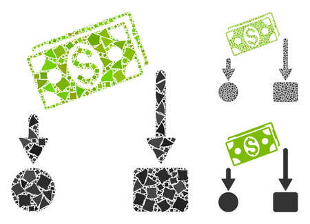 Cash flow composition of trembly pieces in various sizes and color tones, based on cash flow icon. Vector humpy pieces are united into collage. Cash flow icons collage with dotted pattern.