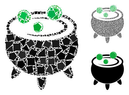 Cauldron mosaic of humpy elements in different sizes and color tones, based on cauldron icon. Vector tremulant elements are grouped into mosaic. Cauldron icons collage with dotted pattern.