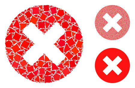 Cancel composition of abrupt items in variable sizes and shades, based on cancel icon. Vector tuberous items are composed into collage. Cancel icons collage with dotted pattern. Stock Illustratie