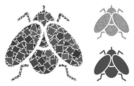 Fly insect composition of ragged items in different sizes and shades, based on fly insect icon. Vector ragged parts are composed into composition. Fly insect icons collage with dotted pattern.