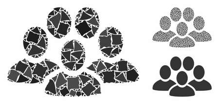 People crowd composition of abrupt items in variable sizes and color tones, based on people crowd icon. Vector unequal elements are combined into collage.