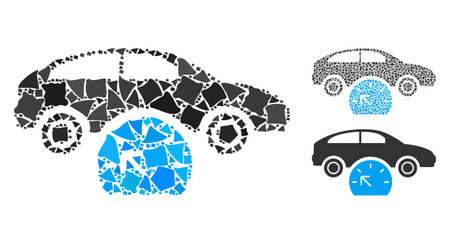 Car testing mosaic of bumpy items in variable sizes and color hues, based on car testing icon. Vector bumpy pieces are composed into mosaic. Car testing icons collage with dotted pattern.