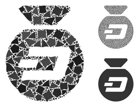 Dash money bag mosaic of trembly parts in various sizes and color tinges, based on Dash money bag icon. Vector uneven parts are grouped into mosaic. Dash money bag icons collage with dotted pattern. Ilustração