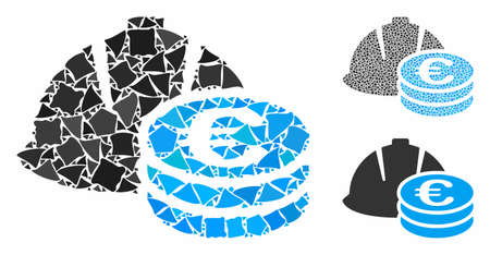 Euro coins and helmet mosaic of uneven parts in various sizes and shades, based on Euro coins and helmet icon. Vector trembly pieces are composed into mosaic.