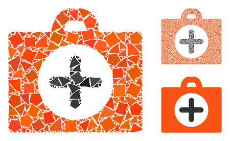 First aid mosaic of tuberous items in different sizes and color tints, based on first aid icon. Vector tremulant elements are united into mosaic. First aid icons collage with dotted pattern. Ilustração