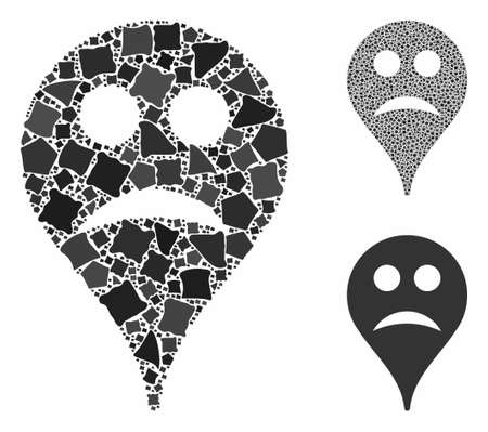 Sad smiley map marker mosaic of trembly items in different sizes and color tints, based on sad smiley map marker icon. Vector trembly dots are combined into collage.