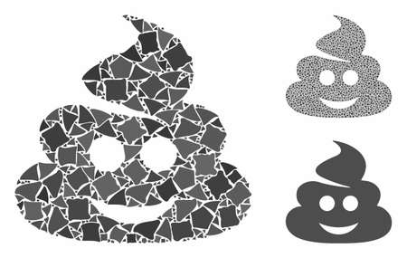 Happy shit composition of tuberous pieces in variable sizes and color tones, based on happy shit icon. Vector tremulant elements are composed into collage.
