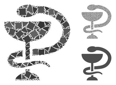 Medicine snake emblem composition of humpy elements in various sizes and color tints, based on medicine snake emblem icon. Vector humpy items are combined into collage. Çizim