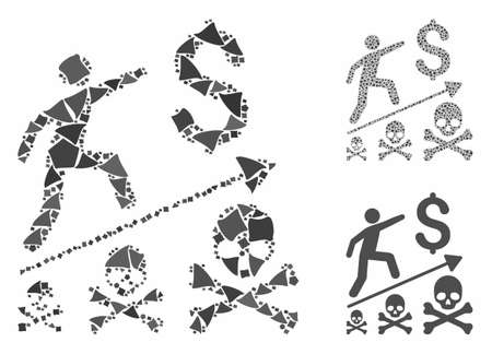 Deadly business achievement mosaic of raggy items in variable sizes and color tints, based on deadly business achievement icon. Vector unequal items are united into mosaic.
