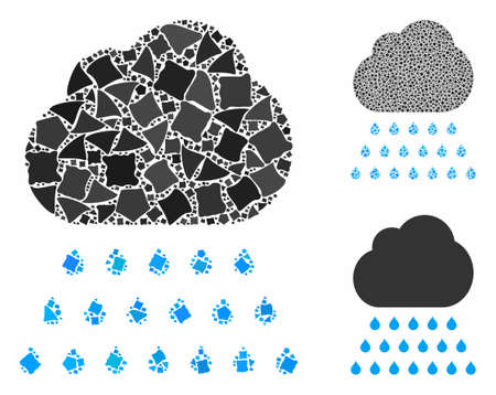 Rain cloud mosaic of ragged parts in various sizes and color hues, based on rain cloud icon. Vector abrupt parts are combined into composition. Rain cloud icons collage with dotted pattern. Ilustração