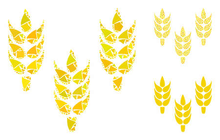 Rice mosaic of raggy parts in various sizes and color hues, based on rice icon. Vector uneven parts are combined into mosaic. Rice icons collage with dotted pattern.