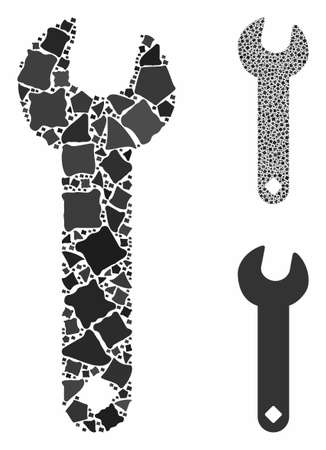 Wrench composition of joggly pieces in different sizes and color tinges, based on wrench icon. Vector tuberous pieces are composed into composition. Wrench icons collage with dotted pattern.