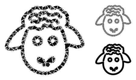 Sheep head mosaic of unequal elements in various sizes and color tones, based on sheep head icon. Vector unequal parts are grouped into illustration. Sheep head icons collage with dotted pattern.