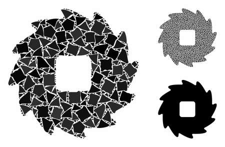 Teeth ratchet wheel mosaic of unequal parts in variable sizes and shades, based on teeth ratchet wheel icon. Vector ragged parts are combined into collage.