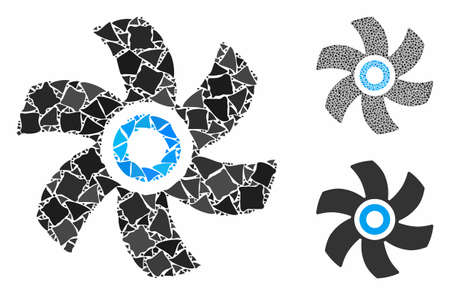 Rotor mosaic of bumpy parts in different sizes and color tints, based on rotor icon. Vector humpy pieces are organized into mosaic. Rotor icons collage with dotted pattern.