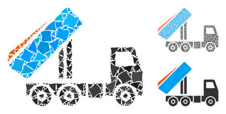 Unloading tipper composition of humpy pieces in variable sizes and color hues, based on unloading tipper icon. Vector abrupt pieces are composed into collage. Illustration