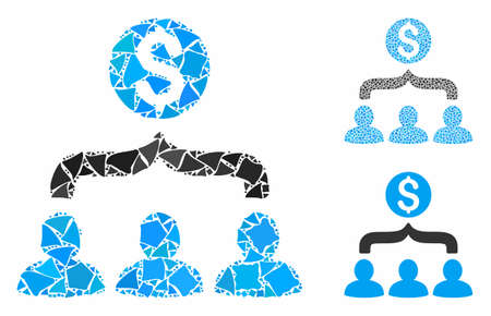 Sales funnel mosaic of uneven pieces in variable sizes and shades, based on sales funnel icon. Vector uneven parts are united into mosaic. Sales funnel icons collage with dotted pattern. Ilustração