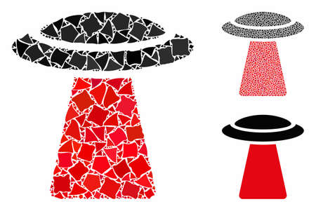UFO ray mosaic of tremulant elements in variable sizes and color tones, based on UFO ray icon. Vector uneven elements are grouped into mosaic. UFO ray icons collage with dotted pattern. Çizim