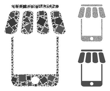 Webstore composition of ragged parts in variable sizes and shades, based on webstore icon. Vector ragged parts are united into illustration. Webstore icons collage with dotted pattern.