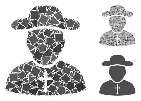 Priest composition of unequal items in different sizes and color tints, based on priest icon. Vector uneven items are combined into composition. Priest icons collage with dotted pattern. Stockfoto - 131943204