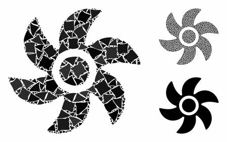 Turbine mosaic of uneven parts in various sizes and shades, based on turbine icon. Vector humpy parts are organized into collage. Turbine icons collage with dotted pattern. Illusztráció