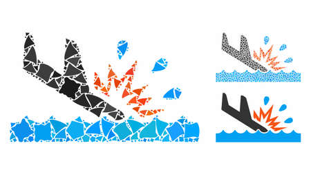 Water air crash composition of raggy items in different sizes and color tints, based on water air crash icon. Vector raggy parts are organized into collage. Иллюстрация