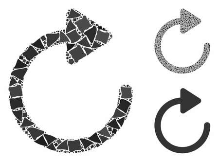 Rotation composition of joggly pieces in various sizes and color tones, based on rotation icon. Vector ragged pieces are united into composition. Rotation icons collage with dotted pattern.