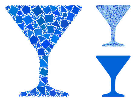 Wine glass mosaic of inequal pieces in variable sizes and color tinges, based on wine glass icon. Vector rough parts are united into collage. Wine glass icons collage with dotted pattern.