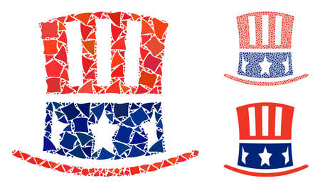 Uncle Sam hat composition of bumpy elements in different sizes and color hues, based on Uncle Sam hat icon. Vector tremulant pieces are grouped into composition.
