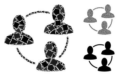 Social area mosaic of unequal pieces in various sizes and color tints, based on social area icon. Vector unequal items are united into collage. Social area icons collage with dotted pattern.