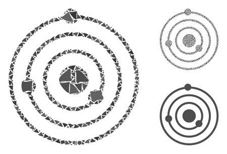 Solar System composition of abrupt items in various sizes and shades, based on Solar System icon. Vector joggly dots are grouped into collage. Solar System icons collage with dotted pattern.