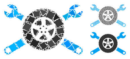 Tire service wrenches composition of raggy parts in variable sizes and color tints, based on tire service wrenches icon. Vector inequal pieces are combined into collage.