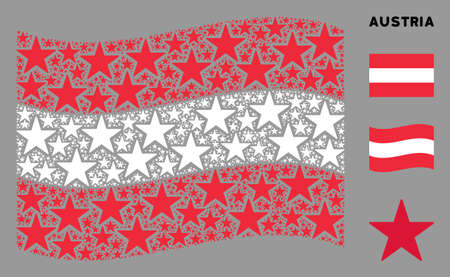 Waving Austrian state flag. Vector confetti star pictograms are placed into geometric Austrian flag abstraction. Patriotic collage combined of flat confetti star pictograms.