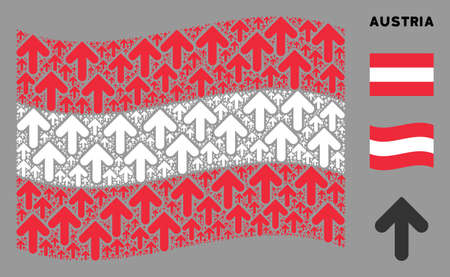 Waving Austrian flag. Vector arrow up design elements are placed into mosaic Austria flag collage. Patriotic collage designed of flat arrow up design elements.