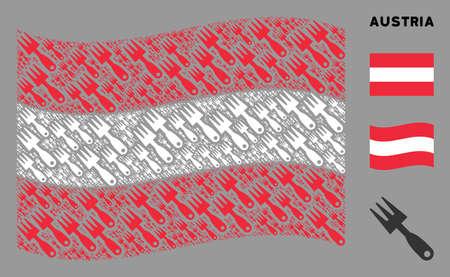 Waving Austria official flag. Vector cultivator rake elements are grouped into mosaic Austria flag illustration. Patriotic illustration constructed of flat cultivator rake elements. Иллюстрация