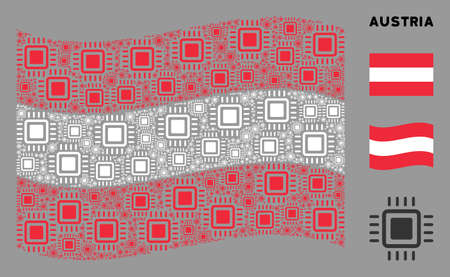 Waving Austria official flag. Vector processor design elements are scattered into mosaic Austria flag abstraction. Patriotic concept organized of flat processor design elements. Illusztráció