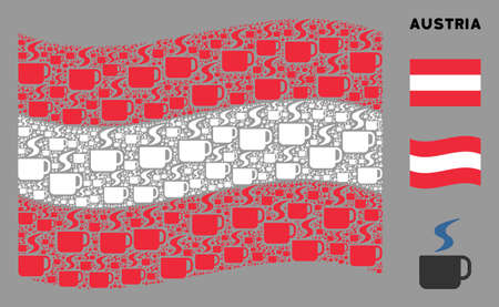 Waving Austria official flag. Vector hot coffee cup pictograms are organized into conceptual Austrian flag collage. Patriotic collage organized of flat hot coffee cup pictograms.