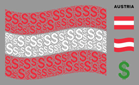Waving Austrian flag. Vector dollar icons are placed into geometric Austrian flag abstraction. Patriotic concept done of flat dollar icons. 向量圖像