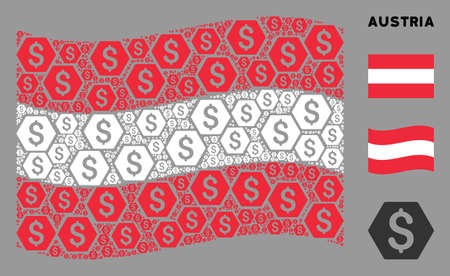 Waving Austria state flag. Vector finance design elements are grouped into geometric Austria flag composition. Patriotic illustration done of flat finance design elements.
