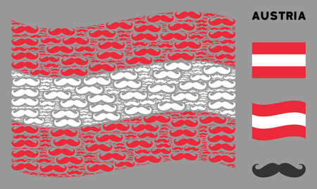 Waving Austrian official flag. Vector gentleman moustache elements are placed into geometric Austrian flag abstraction. Patriotic collage constructed of flat gentleman moustache elements. 일러스트
