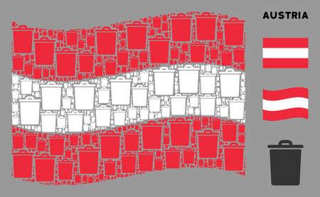 Waving Austria flag. Vector trash bin design elements are arranged into conceptual Austria flag abstraction. Patriotic illustration created of flat trash bin design elements. Vektorgrafik