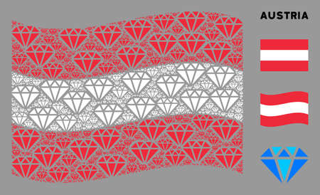 Waving Austria flag. Vector diamond design elements are scattered into geometric Austria flag collage. Patriotic composition designed of flat diamond design elements. Vettoriali