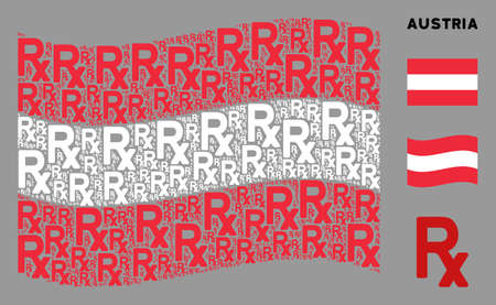 Waving Austrian state flag. Vector Rx symbol icons are arranged into conceptual Austrian flag collage. Patriotic collage combined of flat Rx symbol design elements. Illusztráció