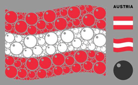 Waving Austrian flag. Vector sphere design elements are organized into mosaic Austrian flag collage. Patriotic collage designed of flat sphere design elements. Illusztráció