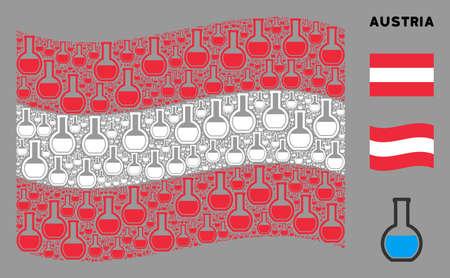 Waving Austrian state flag. Vector chemical retort design elements are grouped into mosaic Austrian flag composition. Patriotic illustration organized of flat chemical retort design elements.