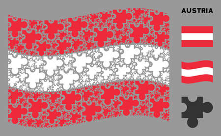 Waving Austria state flag. Vector plugin design elements are placed into geometric Austria flag abstraction. Patriotic illustration combined of flat plugin design elements.