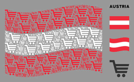 Waving Austria official flag. Vector shopping cart icons are formed into mosaic Austria flag collage. Patriotic collage designed of flat shopping cart design elements.