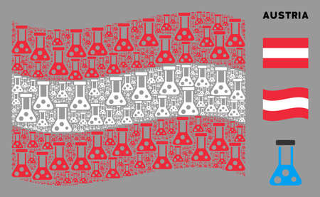 Waving Austrian flag. Vector chemistry elements are placed into mosaic Austrian flag abstraction. Patriotic illustration done of flat chemistry elements. 일러스트